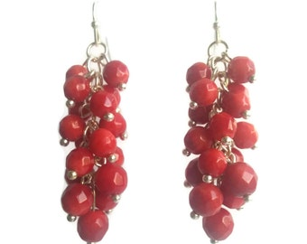 Coral Cave - Red Earrings - Coral Gemstone Bead Cluster Dangle Earrings - Mishimon Designs