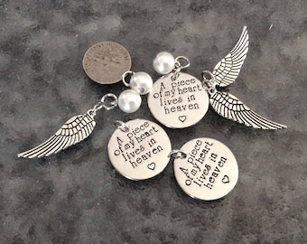 """3 - """"A Piece of my Heart Lives in Heaven"""" pendants or charms  with a heart, Rhodium Plated,  grieving family, heaven pendant"""