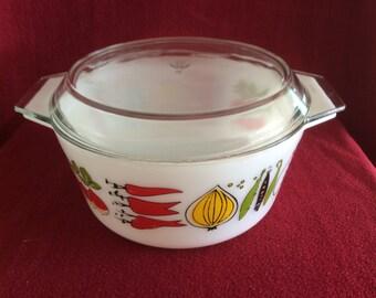 Pyrex JAJ Harvest Deep 5 pint Casserole dish #555 with lid