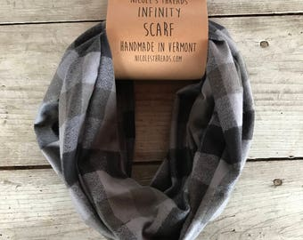 Infinity Scarf - Plaid - Flannel - Oversized - Buffalo Plaid - Grey, Black, Coffee - Warm - Winter - Cozy - Unisex - Gray