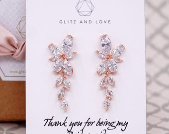 Rose Gold Wedding Bridesmaid Gift Bridal Earrings Bracelet Jewelry Set Brides Clear White Cubic Zirconia Marquise cut Earrings E310 B86