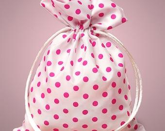 "Small 4"" x 5"" White with Bright Pink Polka Dot Drawstring Bag - 6 Quantity"