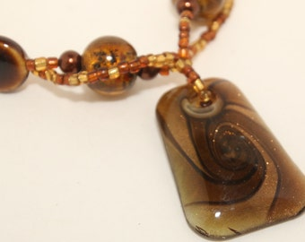 Glass Pendant Beaded Necklace Bronze/Brown/Copper