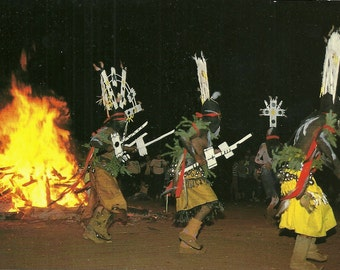 Vintage 1980s Postcard United States Apache Nation Mountain Spirit Dancers Crowdancers Native American Photochrome Card Postally Unused