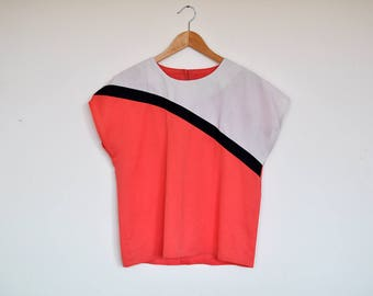 Vintage Loose Fit Boxy Crop Top Cap Sleeve Colorblock Blouse