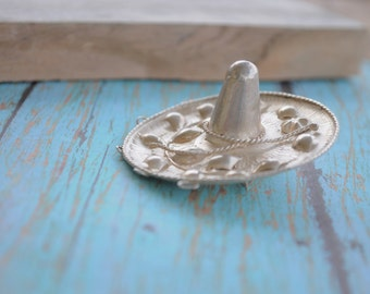 Sterling silver Sombrero brooch charm holder brooch Cinco de Mayo  sterling silver pin Southwestern Mexican hat KW1270