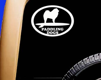 Chow Chow  Paddlingdogs SUP  Vinyl Car Vehicle Dog Decal Oval