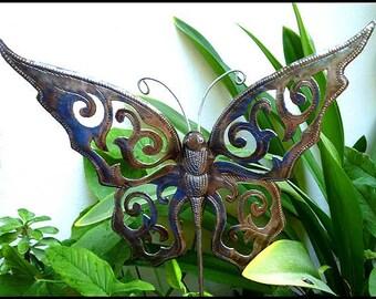 Butterfly Plant Stick, Garden Art, Metal Butterfly, Metal Plant Stake, Garden Decor, Outdoor Metal Art, Yard Art, Haitian Art,  PS-1786