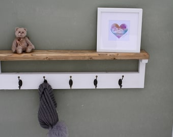 Shabby Chic Wooden Coat Rack With Shelf Solid Wood Vintage Rustic Antique Cast Iron Hooks Coat Rack and Shelf Coat Hooks And Shelf