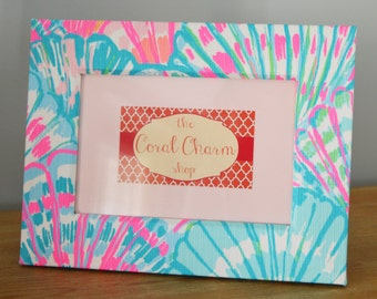 Lilly Pulitzer Oh Shello Fabric Wrapped Wooden Frame