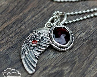 Angel and Demons StoryTeller Series - cast sterling silver angel wing with rose cut garnet charm