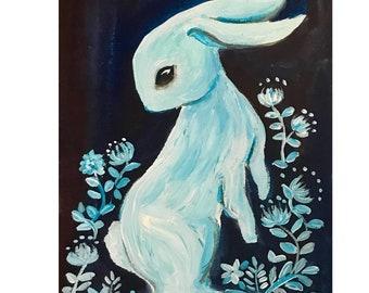 Moonlit White rabbit original painting