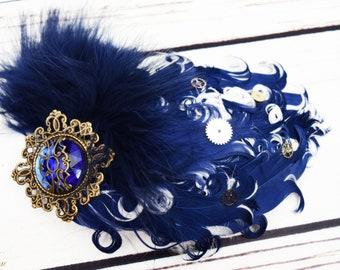Handcrafted Navy Blue White and Brass Steampunk Feather Fascinator - Steampunk Cosplay - Steampunk Feather Hair Piece - Steampunk Wedding
