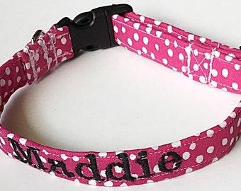 Hot Pink Polka Dot Collar with Embroidered Name Option