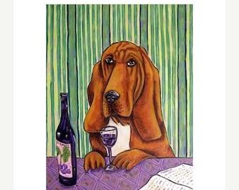 25% off Bloodhound at the Wine Bar Dog Art Print