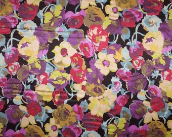 SPECIAL--Muted Tones Floral Print Pure Silk Charmeuse Fabric--BY THE Yard