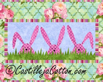 Peek A Boo Bunnies Quilt ePattern, 4237-18, Northcott Fabrics Peony Passion, wall quilt pattern, childs qwall quilt