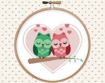 Love owl cross stitch pattern pdf - instant download - heart cross stitch pattern - pillow embroidered