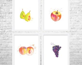 Fruits Prints - Fruit Decor - Fruit Kitchen Art - Kitchen Decor - Kitchen Poster - Food Art-Kitchen Prints Set of 4 - Modern Decor