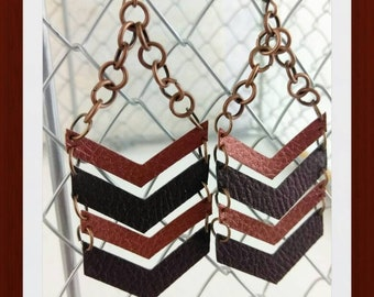 Faux leather Chevron earrings