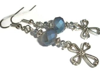 Cross Earrings Silver cross Earrings Blue Cross Crystal Cross earrings silver earrings gift for wife Cross jewelry Christian jewelry Faith