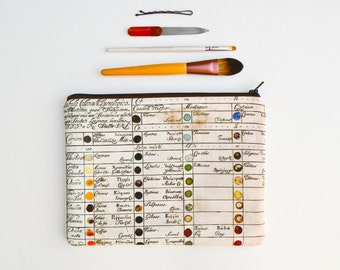 Vintage Color Chart Makeup Bag - Large Pencil Case - Zipper Pouch - Art Supply Bag - Art Paper - Watercolor Bag - Color Guide - Pencil Bag