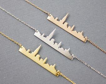 New York Skyline Pendant Necklace . NewYork Cityscape Necklace . New York City Necklace . NY Necklace