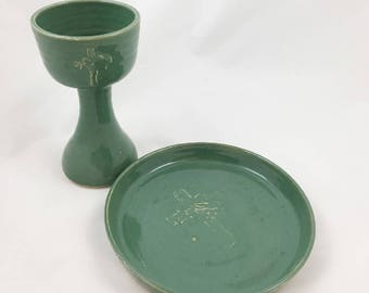 Leaf Green Chalice and Paten Cross and Hands Design Communion Set Handmade Pottery by Daisy Friesen