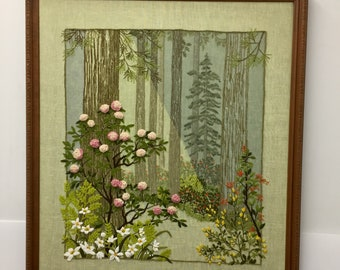 RARE Large Vintage Paragon Needlecraft 1977 #0611 After the Storm- Shady Woodland Path- Dogwood Cherry Blossoms- Completed Finished Framed C