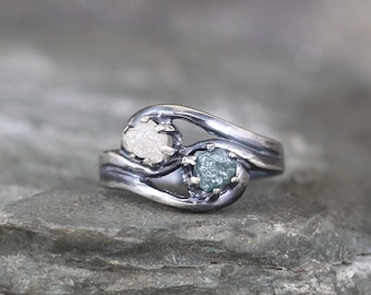 Blue & White Two Stone Raw Diamond Ring - Rough Diamond Engagement Rings - 2 Uncut Gemstone - April Birthstone - Always and Forever Ring