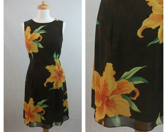 80s 90s vintage dress. Hawaiian floral print dress. Brown dress. Sleeveless dress. Summer dress. Size M - L.