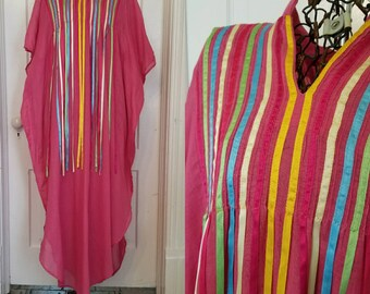 Vintage 70s pink cotton ribbon dress Kaftan Caftan medium large
