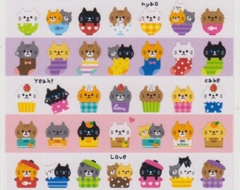 Cat Stickers - Japanese Stickers - Mind Wave Stickers - Reference A4125A5414-15A6550-51