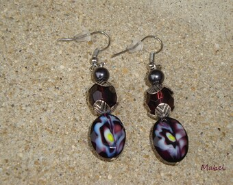 Plum earrings with glass beads and hematite gray