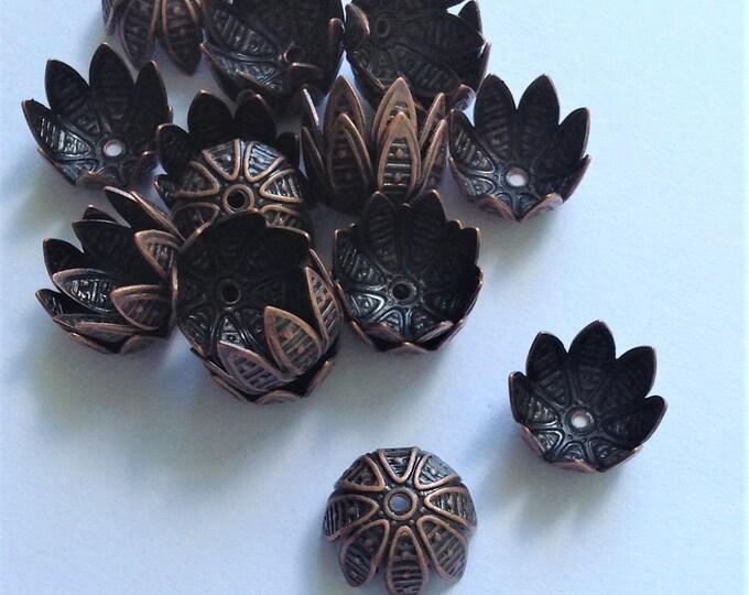 CLOSEOUT - Bead Cap, 10mm, Antique Copper - 50 Pieces (BCBAC-05)