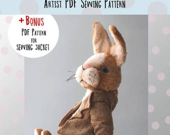 Sewing PATTERN PDF teddy bunny, how to make teddy bunny, teddy bunny Piter, diy teddy bunny