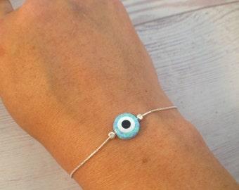 Evil Eye Bracelet / Evil Eye Protection / Evil Eye / Opal bracelet / Nazar bracelet / sterling silver bracelet / lucky charm / opal jewelry