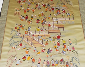 Silk Embroidery, Large, 100 Playing Children, Chinese Silk, Chinese Tapestry, Oriental Decor, China Art Silk, Wall Decor, Silk Decor, Asian
