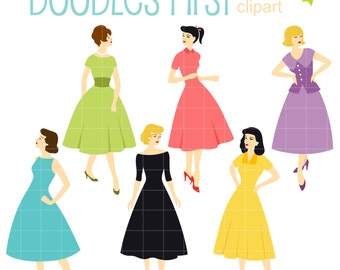 Vintage Fashion Girls Digital Clip Art for Scrapbooking Card Making Cupcake Toppers Paper Crafts