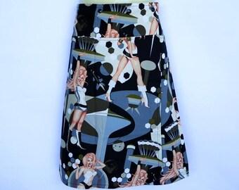Pin up Girls wrap around skirt - Ladies sizes 8 to 20 -black retro vintage atomic