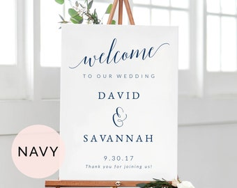 Navy Welcome Sign Template, Printable Wedding Welcome Sign, Wedding Sign Printable, Welcome To Our Wedding Sign, Wedding Ceremony Sign