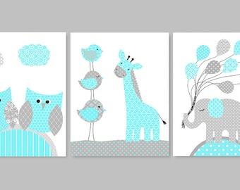 Aqua and Grey Nursery, Baby Animal Decor, Elephant Nursery, Giraffe Nursery, Owl Nursery, Nursery Wall Art, Gender Neutral, Baby Room Decor
