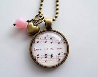 Music Pendant Necklace - Love Lifted Me - I Was Sinking - Inspirational Jewelry - Music Jewelry - Hymn - You Choose Bead and Charm