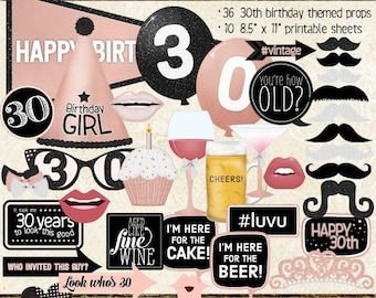 Photo Booth Props, HAPPY 30TH BIRTHDAY, girl, rose gold, selfie station, birthday party, printable sheets, instant download