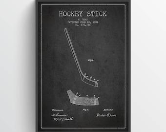 1901 Hockey Stick Patent Wall Art Poster, Hockey Poster, Hockey Art, Hockey Decor, Home Decor, Gift Idea, SPHO07P