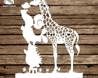 Paper panda papercut diy design template folk paper panda papercut diy design template meeting gary giraffe maxwellsz