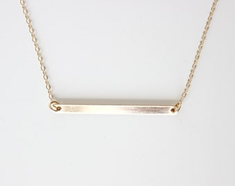Bar Necklace Personalized Plate Necklace Gold Filled Name Plate Necklace Horizontal Bar Necklace Simple Delicate Necklace Layering Necklace