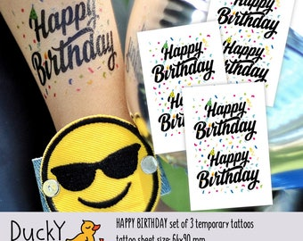 Set of 3 temporary tattoos Happy Birthday. Happy Bday lettering in party hat with confetti. Confetti and sprinkles birthday party favors.