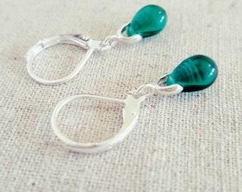 Teal Earrings • Teal Drop Earrings • Teal Dangle Earrings • Teal Glass Earring • Teal Teardrop Earrings • Teal Green Earrings • Teal Silver