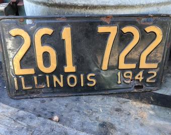 1942 Illinois Metal License Plate / Man Cave / Decor